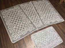 ROMANY GYPSY WASHABLES NICE NON SLIP SET OF 4 MATS SILVER-GREY CHEAPEST AROUND